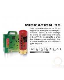 SUPER MIGRATION 36 CAL.12/70 BJ - 36G PACK DE 100 CARTOUCHES